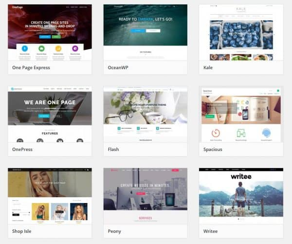 Bluehost template gallery