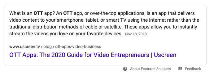 Zero click search results