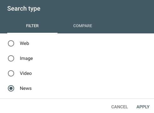 Google search console news search type