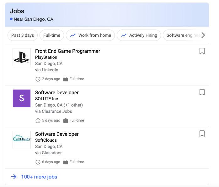 Google job cards
