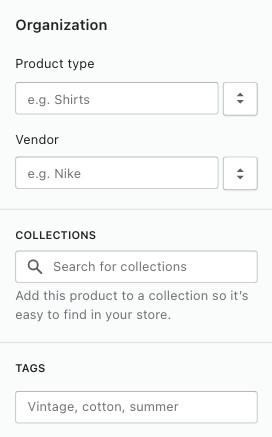 Shopify product organization