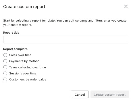 Shopify custom reports