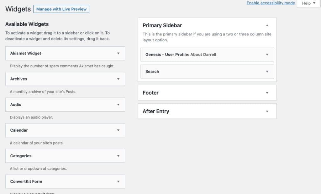 Add widgets to WordPress