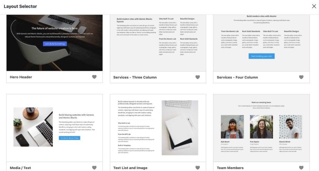 WordPress page layout