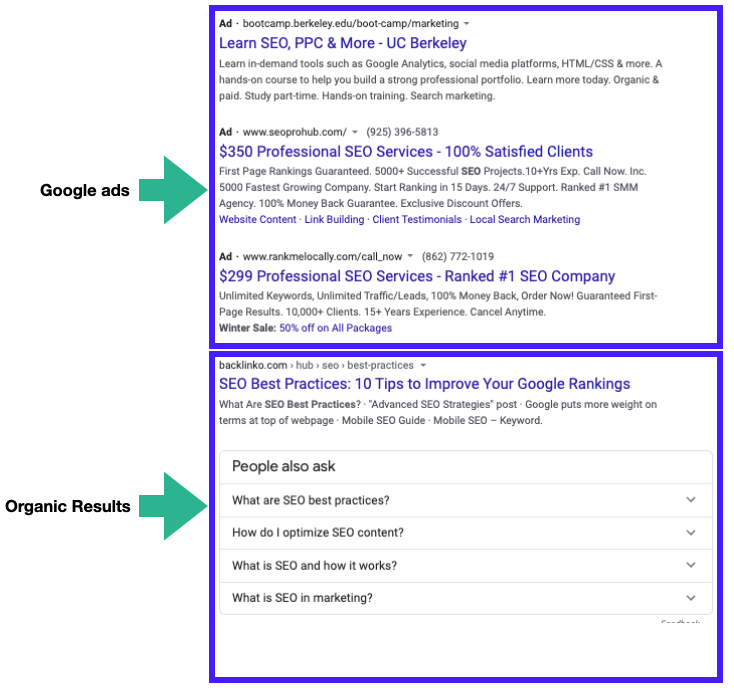Google ads vs google Organic results