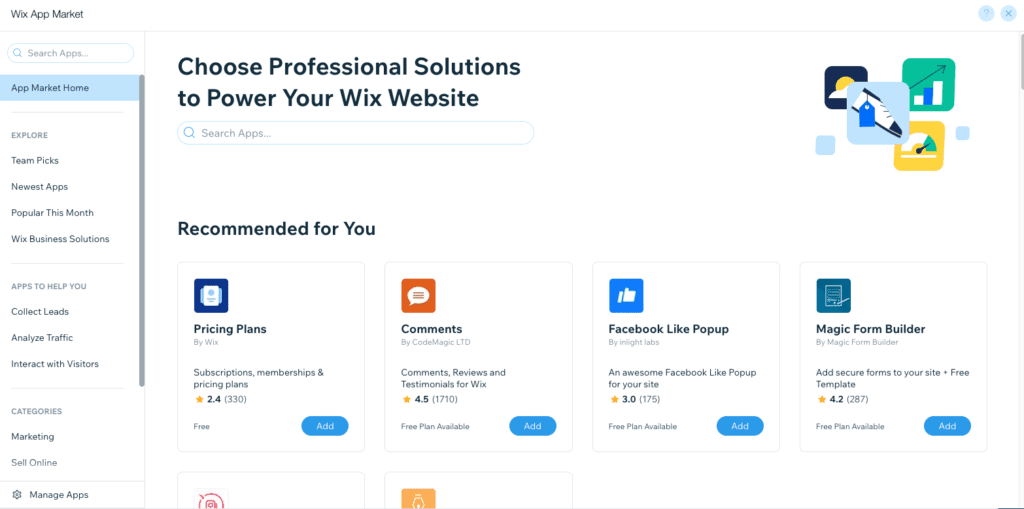 Wix apps options